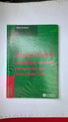 BACALAUREAT LITERATURA ROMANA SUBIECTE REZOLVATE PENTRU PROBA ORALA foto