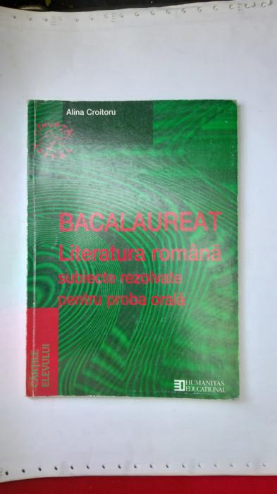 BACALAUREAT LITERATURA ROMANA SUBIECTE REZOLVATE PENTRU PROBA ORALA