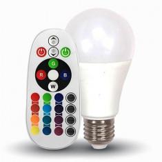 Bec LED E27 6W RGB + alb rece V-TAC, A60 6400K cu telecomanda