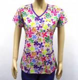 Bluza medicala lila cu fluturasi