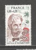 Franta.1975 100 ani nastere A.Schweitzer-medic PREMIUL NOBEL MF.677, Nestampilat