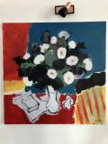 Tablou Carmen Cretzu - Iacob, Natura statica cu flori, ulei pe panza, 90 x 90 cm, Altul