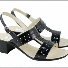 Sandale dama din piele naturala neagra - Made in Romania S7NLAC, 35 - 40, Alb, Bej, Negru, Rosu
