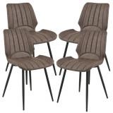 Cumpara ieftin Set patru bucati scaune design Norica, 77 x 57,5 x 46 cm, poliester/metal, maro inchis