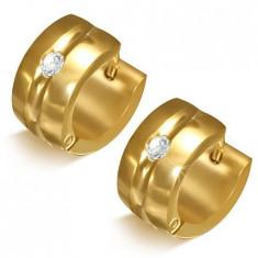 Cercei aurii din oțel - cercuri cu canelură și piatră transparentă
