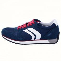 Pantofi tip adidasi de barbati, din textil si piele, marca Geox, U742LC-C4000-42, bleumarin