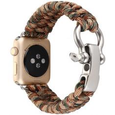 Cumpara ieftin Curea pentru Apple Watch 38 mm iUni Elastic Paracord Rugged Nylon Rope, Brown