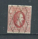 ROMANIA 1865 – 20 bani ROSU, AL.I.CUZA, timbru cu stampila gratar, SD104