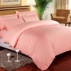 Lenjerie de pat pentru o persoana cu husa de perna dreptunghiulara, Elegance, damasc, dunga 1 cm 130 g mp, Peach, bumbac 100%
