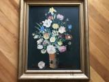 Tablou,pictura in ulei pe panza,vaza cu flori
