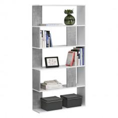[en.casa] Raft carti Aneby WB, 159 x 80 x 23,5 cm, PAL, alb/gri beton, montabil pe perete, cu 5 polite HausGarden Leisure