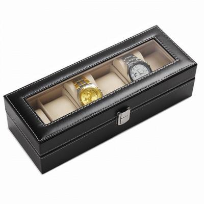 Cutie caseta eleganta depozitare cu compartimente pentru 6 ceasuri, negru foto