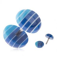 Plug fals pentru ureche, cercuri din acrilic, dungi albastre închis şi deschis