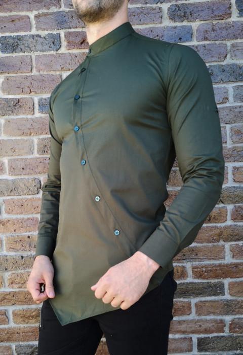 Camasa asimetrica cachi- camasa barbat- camasa slim fit - cod 210