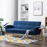 VidaXL Canapea de 3 persoane, material textil, albastru