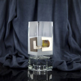 Vaza cu lemn, argint si chihlimbar