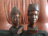 Pereche statuete sculptura lemn - Bust de femeie si barbat model deosebit !
