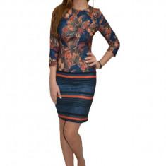 Rochie Adeline de zi cu imprimeu floral stil mozaic,nuanta bleumarin, 36, 38, 40, 42