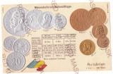 1975 - King CAROL I, Romanian Coins, Flag - old postcard, embossed - unused