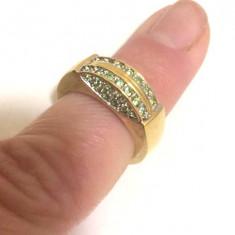 Inel placat cu aur galben 18k si cristale Swarovski verzi- marimea 6,16mm