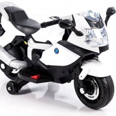 Motocicleta electrica LB cu roti ajutatoare, alb