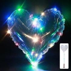 Balon cu LED multicolor, diametru 40 cm, forma inimioara, suport tip bat