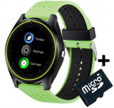 Ceas Smartwatch cu Telefon iUni V9 Plus, Touchscreen, 1.3 Inch HD, Camera 2MP, iOS si Android, Verde + Card MicroSD 4GB Cadou