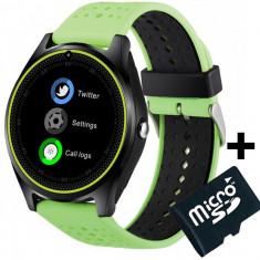 Ceas Smartwatch cu Telefon iUni V9 Plus, Touchscreen, 1.3 Inch HD, Camera 2MP, iOS si Android, Verde + Card MicroSD 4GB