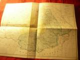 Harta istorica -Principatele Unite in 1859 - Perioada Unirii , dim.=40x29cm