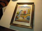 Tablou in ulei reprezentand Moulin Rouge cu dim. 20 x 28 cm., autor necunoscut, Scene gen, Altul