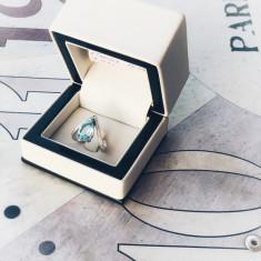 Inel Aur Alb cu diamante si Topaz