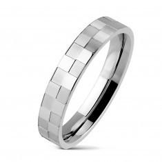 Inel din oțel inoxidabil model tablă de șah