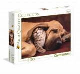 Cumpara ieftin Puzzle Imbratisare - Pui de pisica si catelus, 500 piese