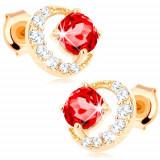 Cercei din aur 375 - semilună cu zirconii, rubin roșu rotund