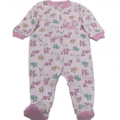 Salopeta / Pijama bebe cu vulpite Z17, 1-2 ani, 1-3 luni, 12-18 luni, 3-6 luni, 6-9 luni, 9-12 luni, Roz