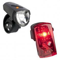 Set lumini bicicleta LED Axa GreenLine 8 , 8 Lux, incarcare USB, lumina fata si lumina spate