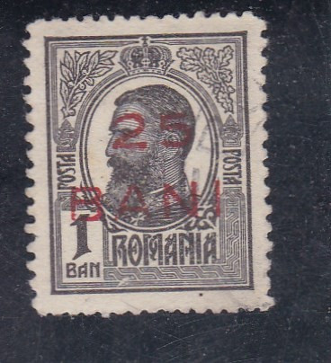 ROMANIA 1918  LP 70 I   CAROL I  TIPOGRAFIATE  SUPRATIPAR 25 BANI
