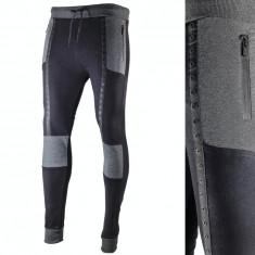 Pantaloni pentru barbati, slim fit, gri-inchis, cu siret, banda jos - assassin
