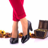 Pantofi dama eleganti din piele naturala ,negri si piele naturala lacuita toc 7cm - NA163
