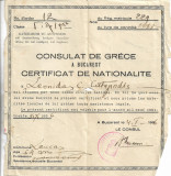 Certificat nationalitate greaca Consulatul Greciei in Romania 1936