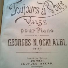 Toujours a Vous Vals Georges M. Ocki albi Partitura sec. XIX Litografie rara