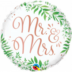 Balon nunta Mr & Mrs Elegant Greenery din folie 43cm
