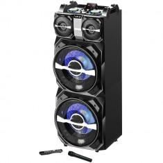 Boxa activa fixa AKAI DJ-T5, dual USB, card SD, Bluetooth, microfon wireless si telecomanda, 300W