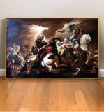 Tablou pictat manual ulei pe panza Tablou cu cai, reproducere celebra 85x55cm, Scene lupta, Realism