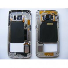 Carcasa Mijloc Samsung G925 Galaxy S6 Edge Blue Orig Swap A foto