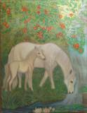 Cai albi la izvor tablou in ulei pa panza 30x40 cm, Animale, Altul
