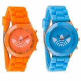 Pachet 2 x Ceas sport de dama, curea silicon albastru + portocaliu