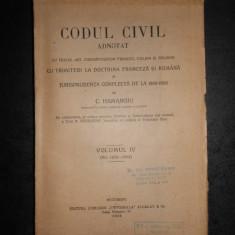 C. HAMANGIU - CODUL CIVIL ADNOTAT volumul 4 (1926)