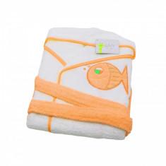 Halat de baie copii 10-12 ani Valentini Bianco alb cu margine portocalie