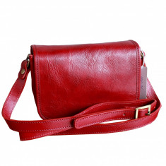 Geanta piele naturala, casual, rosie, GD102, Geanta stil postas, Rosu